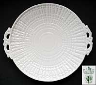 antique pottery image - IRISH BELLEEK PORCELAIN LIMPET PATTERN LARGE BREAD PLATE, FIRST GREEN MARK C.1946-1955