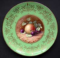 antique pottery image - FINE SIGNED COALPORT PORCELAIN FRUIT PATTERN CABINET PLATE BY PERCY SIMPSON C.1926-1936