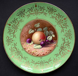 FINE SIGNED COALPORT PORCELAIN FRUIT PATTERN CABINET PLATE BY PERCY SIMPSON C.1926-36