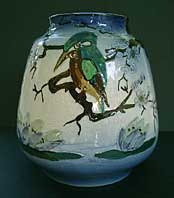 ART DECO R.DEAN TUBE LINED AND HAND DECORATED OVOID STAFFORDSHIRE ART POTTERY VASE C.1920-30