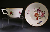 DERBY PORCELAIN HAND PAINTED CABINET CUP AND SAUCER, FLORAL SPRAYS BY MOSES WEBSTER C.1820
