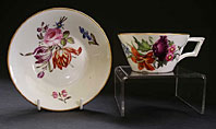antique pottery image - DERBY PORCELAIN HAND PAINTED CABINET CUP AND SAUCER, FLORAL SPRAYS BY MOSES WEBSTER C.1820