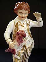 antique pottery image - A RARE REGENCY ENGLISH PORCELAIN FIGURE OF A BOY AND DOG BLOOR DERBY MARK C.1825