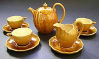 antique pottery image - LINTHORPE ART POTTERY MAJOLICA PART TEA SET IN THE STYLE OF CHRISTOPHER DRESSER C.1880