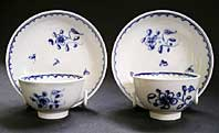 RARE LIVERPOOL ANTIQUE POTTERY PEARLWARE MINIATURE TOY TEABOWL AND SAUCER SETS (PAIR) C.1785-1800