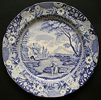 antique blue and white pottery image - ROCKINGHAM YORKSHIRE BRAMELD PATTERN CASTLE OF ROCHEFORT BLUE AND WHITE PEARLWARE TRANSFER PRINTED PLATE C.1810-20