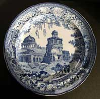 STAFFORDSHIRE PEARLWARE ORIENTAL SCENERY TRANSFERWARE BLUE AND WHITE PLATE C.1820-30 THE MONOPTOROS PATTERN BY ROGERS