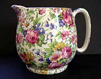 ART DECO POTTERY ROYAL WINTON CHINTZ JUG, GLOBE SHAPE WITH SUMMERTIME PATTERN C.1932-35