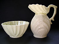 Belleek pottery image - IRISH BELLEEK DOUBLE SHELL PATTERN CREAM JUG AND SUGAR SET, FIRST GREEN MARK C.1946-1955