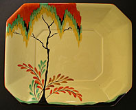 CARLTON WARE ART DECO POTTERY AUTUMN TREES AND FERN PATTERN NO. 3517 SHAPED DISH C. 1930-32