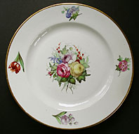 DERBY REGENCY ENGLISH PORCELAIN LARGE PAINTED FLORAL SPRAY PATTERN PLATE BY JOHN KEYS C.1815-20