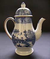 antique blue and white pottery image - English blue and white pearlware Leeds Pottery or Staffordshire coffee pot Long Bridge pattern c.1785-1810