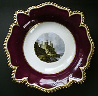 antique pottery image - RARE FLIGHT BARR AND BARR WORCESTER PORCELAIN NAMED VIEW COMPORT, CONWAY CASTLE WALES C.1813-19
