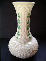 Belleek pottery image - BELLEEK IRISH PORCELAIN SECOND BLACK MARK SHAMROCK PATTERN ONION SHAPED VASE C.1891-1926