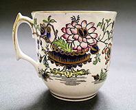 RARE ENGLISH PORCELAIN COFFEE CUP, G.F. BOWERS PATTERN NUMBER 632 , JAPAN STYLE, CHINOISERIE DESIGN C.1848
