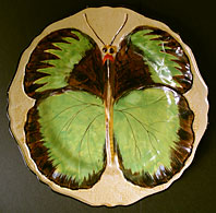 Hancocks Ivory Ware Staffordshire art deco pottery Butterfly relief pattern wall plate c.1930