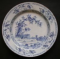 antique blue and white pottery image - FINEST LIVERPOOL DELFT TIN-GLAZED EARTHENWARE LARGE BLUE AND WHITE PLATE WITH THE TWO COCKERELS PATTERN C.1750-60