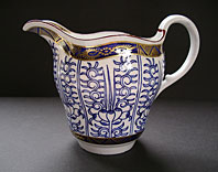 antique blue and white pottery image - FIRST PERIOD WORCESTER PORCELAIN BLUE AND WHITE CREAM JUG ROYAL LILY PATTERN BFS I.F.8 C.1775