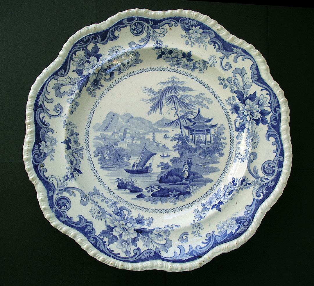 Blue and white pottery - Antique Blue And White Pottery Image Canton Views Pattern Rare Special Mark Red Lion Hampton