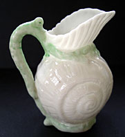 Belleek pottery image - BELLEEK IRISH PORCELAIN TOY SHELL CREAM JUG - RARE GREEN COLOUR WAY, 1ST BLACK MARK C.1863-1890