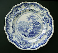 antique blue and white pottery image - CANTON VIEWS PATTERN RARE SPECIAL MARK RED LION HAMPTON BLUE AND WHITE POTTERY LARGE PLATE - ELKIN, KNIGHT AND BRIDGWOOD FENTON C.1827-40
