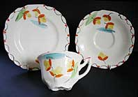 Art Deco pottery image - MYOTT STAFFORDSHIRE POTTERY HAND PAINTED ART DECO TRIO, DECO FLORAL PATTERN C.1933-38