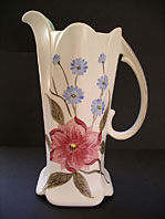CLASSIC ART DECO SHAPED HAND DECORATED BD PATTERN STAFFORDSHIRE JUG VASE BY E. RADFORD