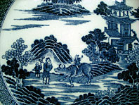 antique pottery image - SPODE STAFFORDSHIRE ANTIQUE BLUE AND WHITE POTTERY BOY ON A BUFFALO PATTERN PEARLWARE PLATE C.1795-1800