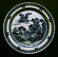 antique pottery image - SPODE STAFFORDSHIRE BLUE AND WHITE POTTERY BOY ON A BUFFALO PATTERN PEARLWARE PLATE C.1795-1800
