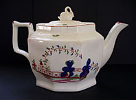antique pottery image - ANTIQUE STAFFORDSHIRE PORCELAIN OCTAGONAL SWAN FINIAL TEAPOT WITH PATTERN NO. 38 - MILES MASON, KEELING (FACTORY X), NEW HALL C.1795-1805