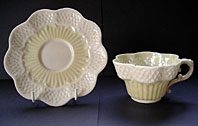 Belleek pottery image - IRISH BELLEEK POTTERY RARE SECOND BLACK MARK PERIOD ERNE PATTERN CUP AND SAUCER C.1891-1926