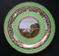 antique pottery image - DERBY PORCELAIN ANIMAL SERVICE PATTERN 268 PLATE PAINTING ATTRIBUTED TO JOHN BREWER C.1790