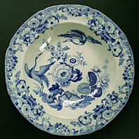 antique blue and white pottery image - FINE STAFFORDSHIRE HICKS AND MEIGH STONE CHINA EXOTIC BIRDS PATTERN BLUE AND WHITE DISH C.1815-22