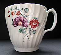 A. E. KEELINGS (FACTORY X) STAFFORDSHIRE HENMAN SHAPE NEW HALL PATTERN 298 COFFEE CUP C.1790