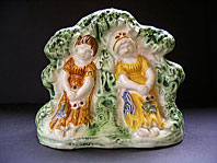 "antique pottery image - A FINE STAFFORDSHIRE ANTIQUE POTTERY PRATT WARE ARBOUR FIGURE GROUP ""BABES IN THE WOOD"" C.1795-1815"