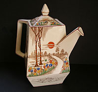 Art Deco pottery image - STUNNING T.G. GREEN ENGLISH POTTERY FAIRY GLEN PATTERN OBLIQUE SHAPE ANGULAR ART DECO TEAPOT C.1931-39
