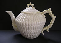 antique pottery image - BELLEEK IRISH PORCELAIN SUPERB LIMPET PATTERN LARGE CONICAL TEAPOT THIRD BLACK MARK C.1926-54