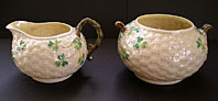 Belleek pottery image - BELLEEK IRISH PORCELAIN SHAMROCK TEA SET CREAM JUG AND SUGAR BOWL SECOND BLACK MARK C.1891-1926