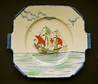 Art Deco pottery image - ART DECO STAFFORDSHIRE CORONET  WARE CLASSIC GALLEON PATTERN HAND COLOURED DISPLAY PLATE C.1933-1938