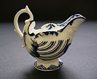 antique pottery image - RARE DERBY HAND PAINTED BLUE AND WHITE PORCELAIN BUTTER BOAT C.1768