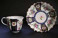 DR WALL WORCESTER FLOWERS CUP AND SAUCER EX F.S. MACKENNA COLLECTION C.1768-75