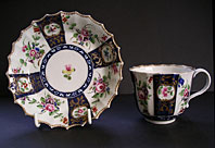 antique pottery image - DR WALL WORCESTER FLOWERS CUP AND SAUCER EX F.S. MACKENNA COLLECTION C.1768-75