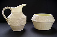 Belleek pottery image - STYLISH BELLEEK IRISH PORCELAIN CLEARY PATTERN CREAM JUG AND SUGAR BOWL SET THIRD BLACK MARK C.1926-46