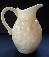 Belleek pottery image - IRISH BELLEEK IVY PATTERN CREAM JUG SECOND BLACK MARK C.1891-1926