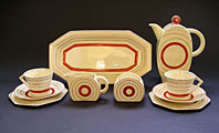 antique pottery image - STUNNING ART DECO CERAMICS: CLARICE CLIFF BON JOUR SHAPE TARGET PATTERN COFFEE SET SIX PIECES C.1933-35