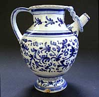 antique blue and white pottery image - RARE DUTCH DELFT BLUE & WHITE MAIOLICA SYRUP JAR (WET DRUG JAR) C. 1675