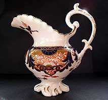 antique pottery image - DERBY OLD JAPAN IMARI OR KINGS PATTERN PORCELAIN CREAMER JUG C.1830-34