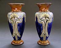 antique pottery image - DECORATIVE PAIR OF ROYAL DOULTON STONEWARE, ELIZA SIMMANCE, ART NOUVEAU, ARTS & CRAFTS STYLE VASES C.1902-14