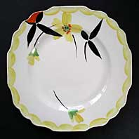 MYOTT STAFFORDSHIRE HAND PAINTED ART DECO LARGE TEA PLATE, DECO FLOWERS PATTERN C 1935-40