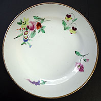 ANTIQUE ENGLISH PORCELAIN: WELSH SWANSEA IMPRESSED TRIDENT PLATE FOUR FLOWER SPRAYS, ATTRIBUTED TO HENRY MORRIS C.1817